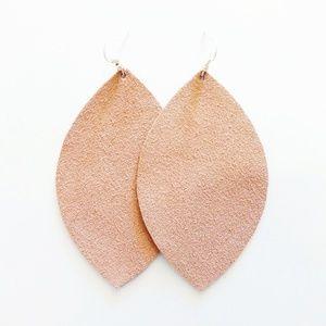 Pink Suede Genuine Leather Leaf Earrings